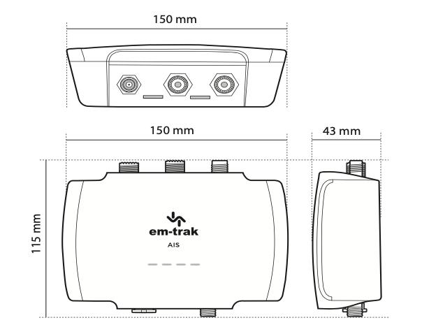 Em-trak B953 AIS Dimensions